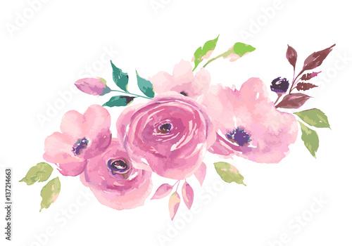 Watercolor bouquet. Painted flowers
