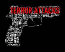 Pistol Shape Wordcloud Tag Terror Attacks