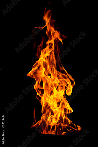 Keuken foto achterwand Vuur Fire flame isolated on black isolated background - Beautiful yellow, orange and red and red blaze fire flame texture style.
