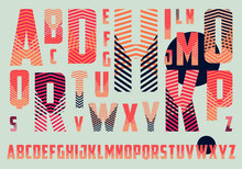 Alphabet With Crossing Stripes Pattern In Red And Blue