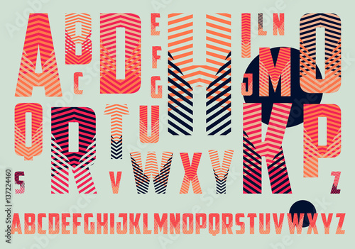 Photo  alphabet with crossing stripes pattern in red and blue