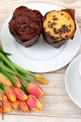 Photo  Muffiny i tulipany