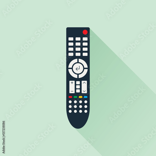 Remote Control For Tv Or Media Center Flat Icon With Long Shadow