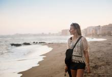 Woman Walking On Beach, Torreblanca, Fuengirola, Spain