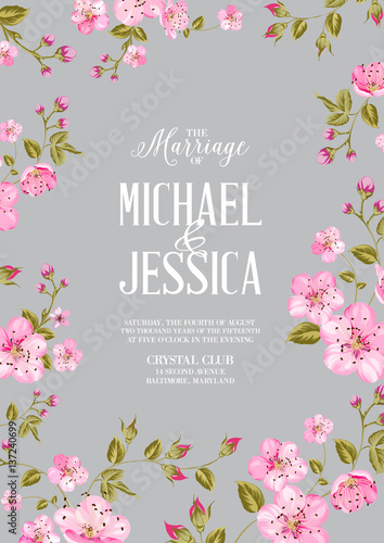 Wedding Invitation Card Template Spring Flowers Border Over Card