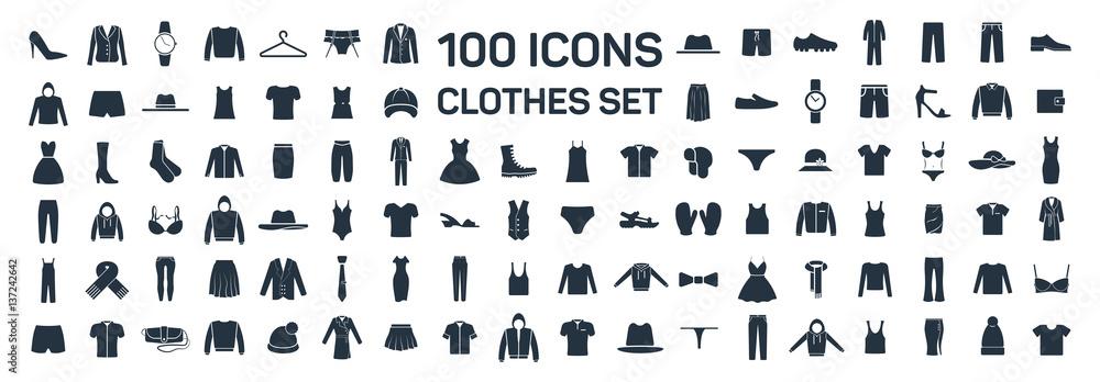 Fototapety, obrazy: Clothes 100 icon set on white background