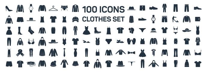 Clothes 100 icon set on white background