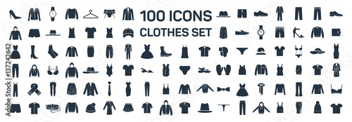 Fényképezés Clothes 100 icon set on white background