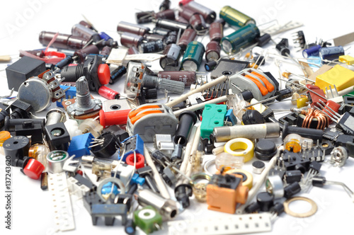 Electronics parts, components on a white background