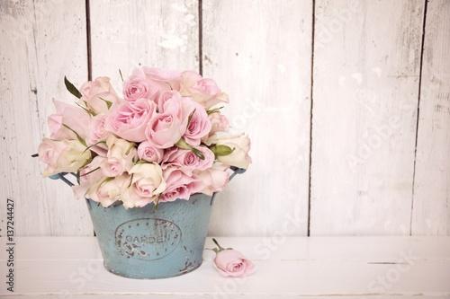 Foto-Tapete - Rosenstrauß Nostalgisch - rosa Rosen (von S.H.exclusiv)