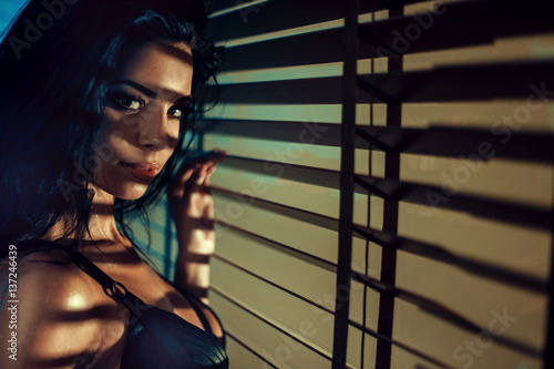 Printed kitchen splashbacks Artist KB Young brunette woman looking at the camera
