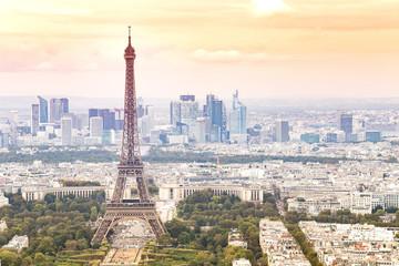 Sunset Eiffel tower and Paris city view form Montparnasse. Sunset romantic background. Eiffel Tower from Champ de Mars, Paris, France.