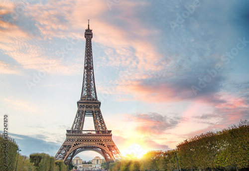 Foto op Aluminium Eiffeltoren View on Eiffel tower through green summer trees with sunset rays. Beautiful Romantic background. Eiffel Tower from Champ de Mars, Paris, France.