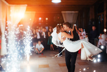 Happy Bride And Groom A Their First Dance, Wedding