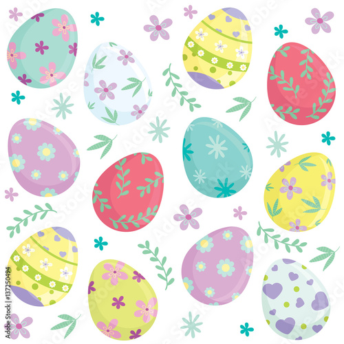 Cotton fabric Different colorful Easter eggs and holiday elements seamless pattern. Vector illustration.