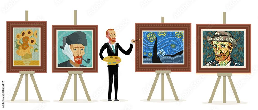 impresjonista malujący portrety pejzaży i słoneczników