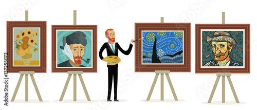 impresjonistyczny malarz malujący portrety pejzaży i słoneczników