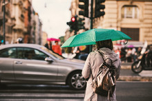 Rome City Life In A Rainy Day