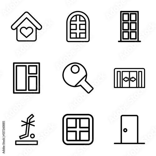 Set of 9 inside outline icons - Buy this stock vector and