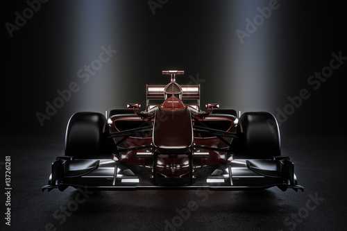 Poster Motorsport Sleek team motor sports racing car with studio lighting. 3d rendering illustration