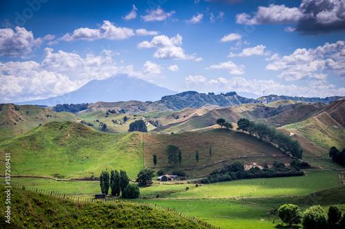 View on Ngauruhoe Volcano with beautiful green hills, near Tongariro National Pa Wallpaper Mural