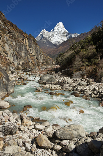 Ama Dablam Mountain Above River Poster