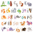 Cute zoo alphabet with cartoon animals isolated on white background and grunge letters wildlife learn typography cute language vector illustration.