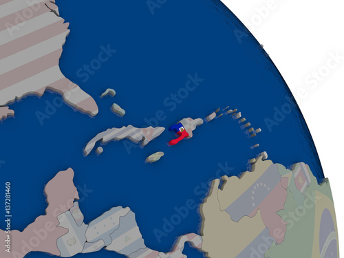 Valokuvatapetti Haiti with flag on globe