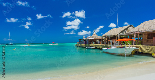 Palm beach at Aruba island Wallpaper Mural