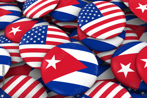 USA and Cuba Badges Background - Pile of American and Cuban Flag Buttons 3D Illu Wallpaper Mural