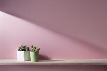ピンクの壁と棚のある...