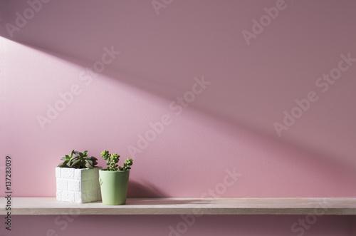 Photo ピンクの壁と棚のある部屋