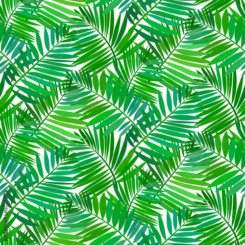 Spoed Fotobehang Tropische Bladeren Seamless pattern with tropical palm leaves