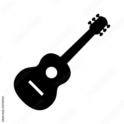 Tablou Canvas Acoustic guitar musical instrument flat vector icon for music apps and websites