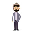 man wearing a hat over white background. colorful design. vector illustration