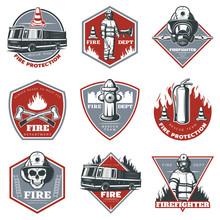 Vintage Firefighting Labels Set