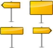 Four Yellow Blank Signs