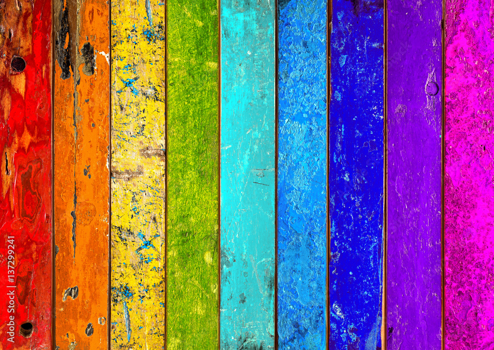 Fototapety, obrazy: colorful vibrant rainbow wooden planks background texture pattern / holz hintergrund bunt regenbogen farbenfroh vorlage textur