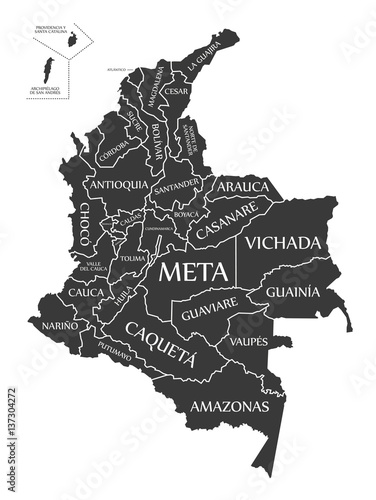 Fotografia  Colombia Map labelled black illustration