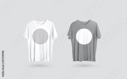 Blank grey and white t shirt front side view design mockup