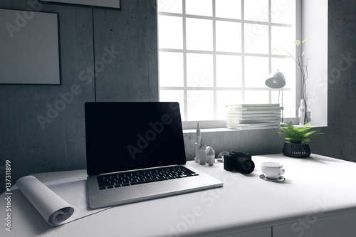 3D Rendering Illustration Of Modern Interior Creative Designer Office Desktop With PC Computerclose