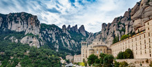 Monastery Of Santa Maria De Montserrat And Mountain