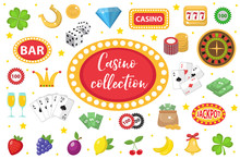 Casino Collection. Gambling Set Isolated On A White Background. Poker, Card Games, One-armed Bandit, Roulette Kit Of Design Elements. Flat Style. Vector Illustration, Clip Art