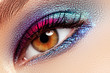 Beauty, cosmetics and makeup. Magic eyes look with creative eye makeup. Macro shot of beautiful woman's face with perfect art makeup. Smoky eyes, long eyelashes. Female eye with colorful eyeshadow