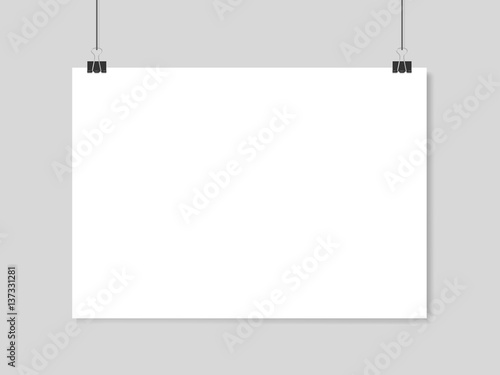Horizontal realistic poster mockup A4 on a rope