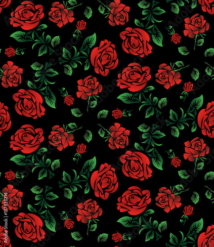 Foral Pattern Wallpaper Or Textile Red Roses Isolated On Black Background Ukrainian Style Buy This Stock Illustration And Explore Similar Illustrations At Adobe Stock Adobe Stock