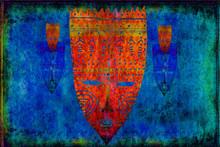 Ethnic Masks On Scratched Blue...