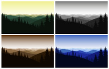 Four  Colorful Mountain Landscapes. Sunrise.