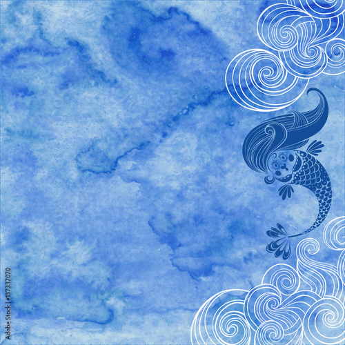 Marine illustration with cartoon mermaid and waves on a blue watercolor background Poster