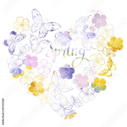 Printspring Watercolor Vector Background With Butterflies